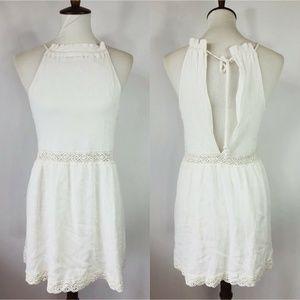 LA Hearts PACSUN White Halter Sun Dress Lace Trim